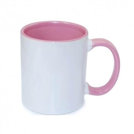Tasse bedrucken rosa Rand und Henkel